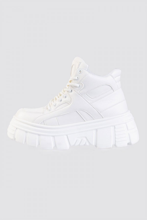 Sneakers - Chunky Faux Leather White